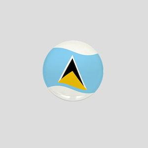 Waving St. Lucia Flag Mini Button