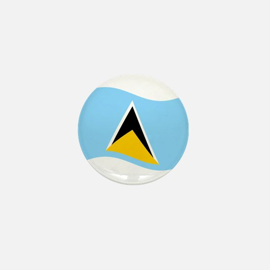Waving St. Lucia Flag Mini Button