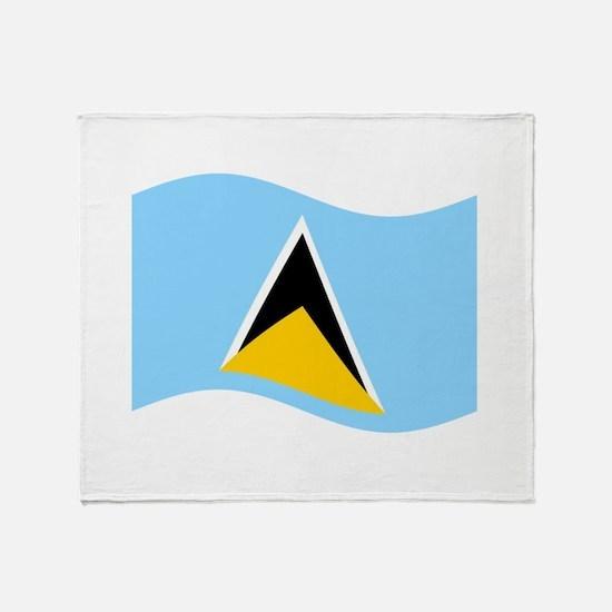 Waving St. Lucia Flag Throw Blanket