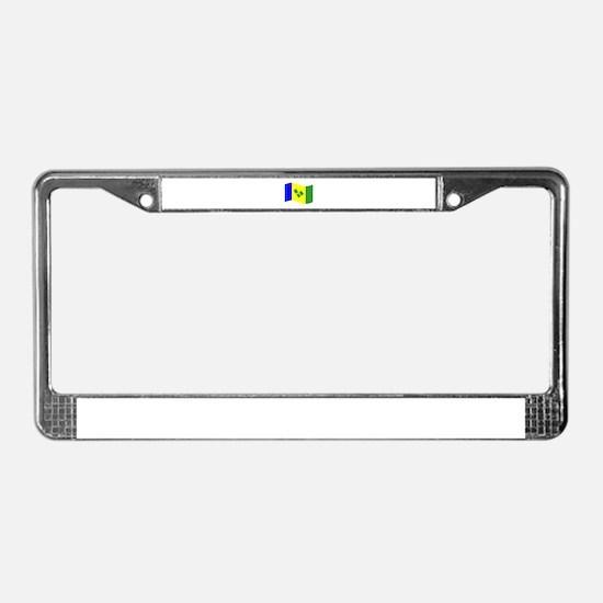 Waving St. Vincent Flag License Plate Frame