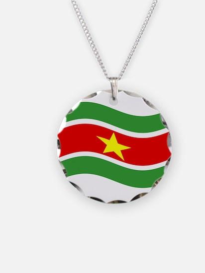 Waving Suriname Flag Necklace