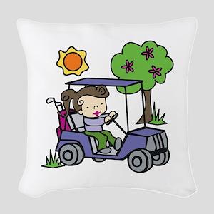 Golf Cart Driver Woven Throw Pillow