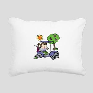 Golf Cart Driver Rectangular Canvas Pillow