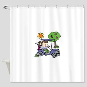 Golf Cart Driver Shower Curtain