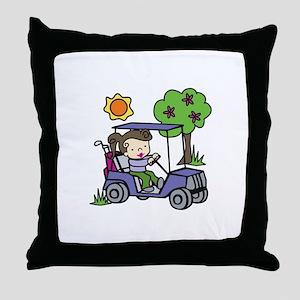Golf Cart Driver Throw Pillow