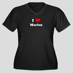 I Love Marlon Women's Plus Size V-Neck Dark T-Shir