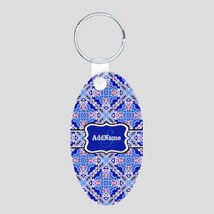 Monogrammed Blue Background Aluminum Oval Keychain