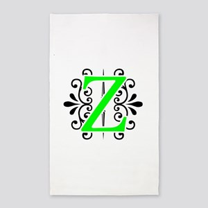 MONOGRAM Z FLORESCENT GREEN & BLACK 3'x5' Area Rug