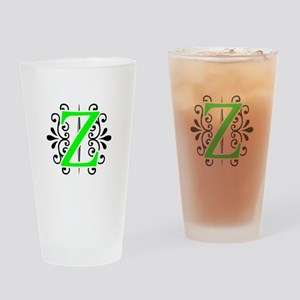 MONOGRAM Z FLORESCENT GREEN & BLACK Drinking Glass