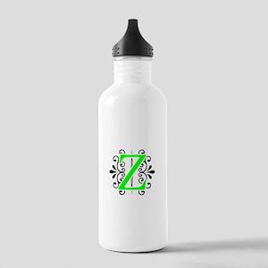 MONOGRAM Z FLORESCENT GREEN & BLACK Water Bottle