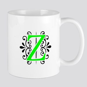MONOGRAM Z FLORESCENT GREEN & BLACK Mugs