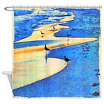 Seagulls Seashore Sunset Shower Curtain