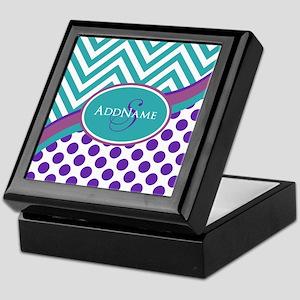 Teal Violet Chevron Dots Personalized Keepsake Box