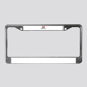 I Love Shopping License Plate Frame