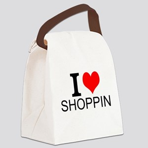 I Love Shopping Canvas Lunch Bag