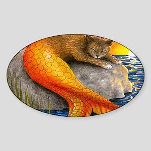 Cat Mermaid 30 Sticker (Oval)