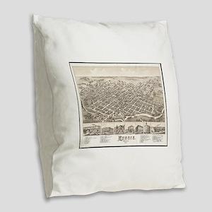 Vintage Pictorial Map of Munci Burlap Throw Pillow