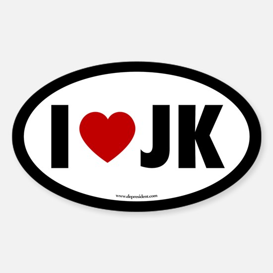 I (Heart) JK Oval Decal