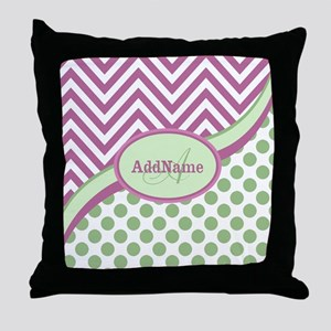 Mint Pink Chevron Dots Personalized Throw Pillow