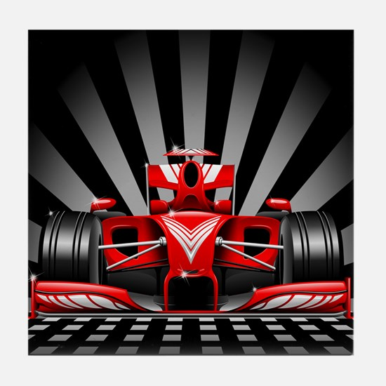 Formula 1 Red Race Car Tile Coaster