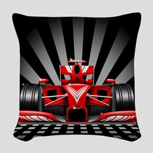 Formula 1 Red Race Car Woven Throw Pillow