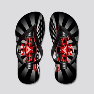 Formula 1 Red Race Car Flip Flops