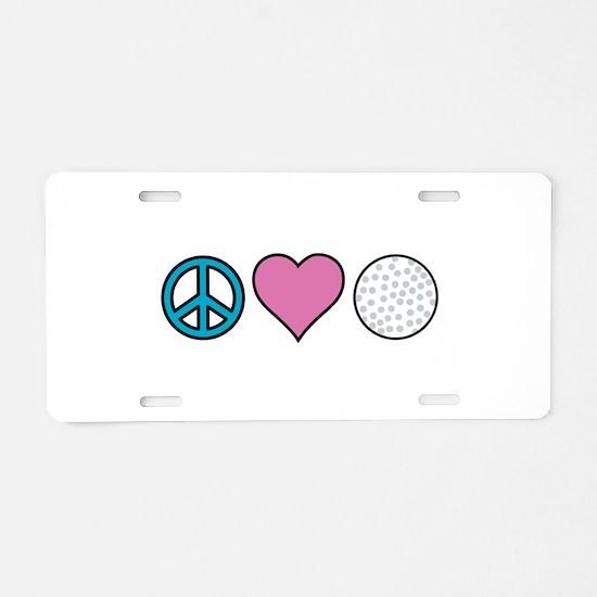 Peace Heart Golf Aluminum License Plate