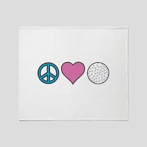 Peace Heart Golf Throw Blanket