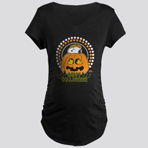 Snoopy and Woodstock Pumpki Maternity Dark T-Shirt