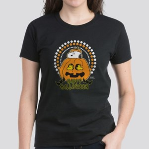 Snoopy and Woodstock Pumpkin Women's Dark T-Shirt