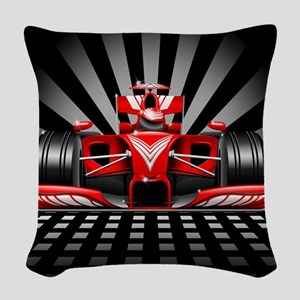 Formula 1 Red Race Car Woven Throw Pillow