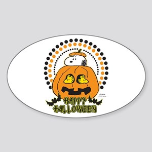 Snoopy and Woodstock Pumpkin Sticker (Oval)