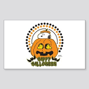 Snoopy and Woodstock Pumpkin Sticker (Rectangle)