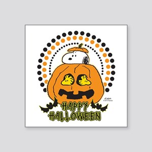 "Snoopy and Woodstock Pumpki Square Sticker 3"" x 3"""