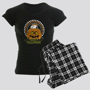 Snoopy and Woodstock Pumpkin Women's Dark Pajamas