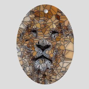 Lion mosaic 001 Ornament (Oval)