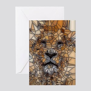 Lion mosaic 001 Greeting Cards