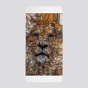 Lion mosaic 001 Beach Towel
