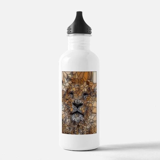 Lion mosaic 001 Sports Water Bottle