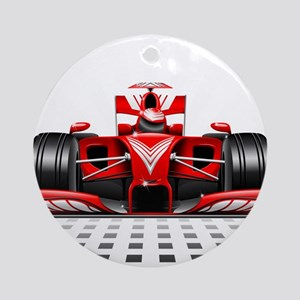 Formula 1 Red Race Car Ornament (Round)
