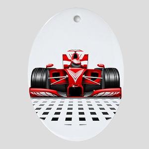 Formula 1 Red Race Car Ornament (Oval)