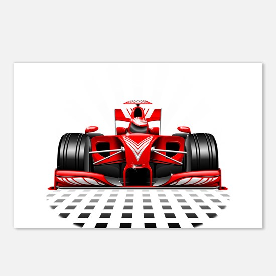 Formula 1 Red Race Car Postcards (Package of 8)