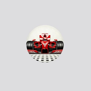 Formula 1 Red Race Car Mini Button