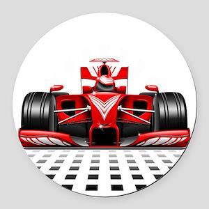 Formula 1 Red Race Car Round Car Magnet