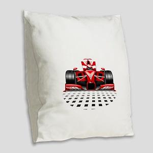 Formula 1 Red Race Car Burlap Throw Pillow