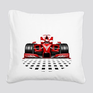 Formula 1 Red Race Car Square Canvas Pillow