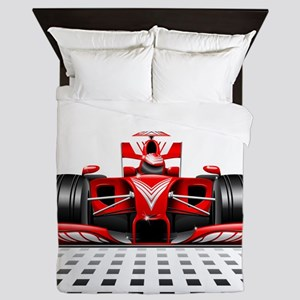 Formula 1 Red Race Car Queen Duvet