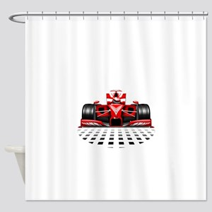 Formula 1 Red Race Car Shower Curtain