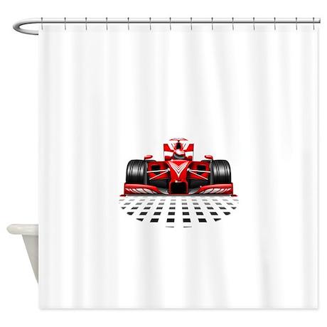 Formula 1 Red Race Car Shower Curtain By Bluedarkartgifts