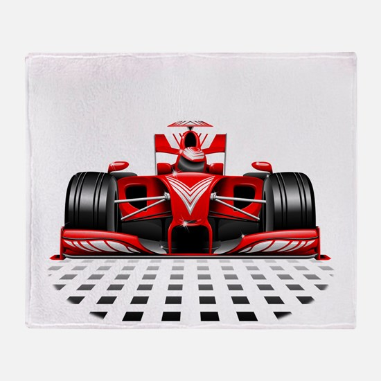 Formula 1 Red Race Car Throw Blanket